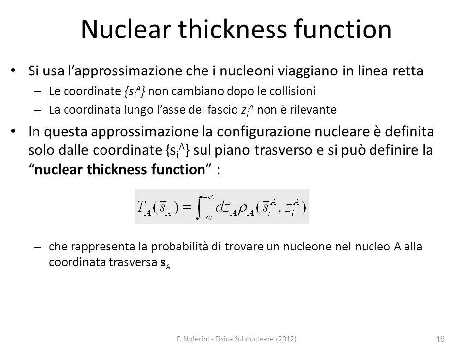 16 Nuclear thickness function Si usa lapprossimazione che i nucleoni viaggiano in linea retta – Le coordinate {s i A } non cambiano dopo le collisioni