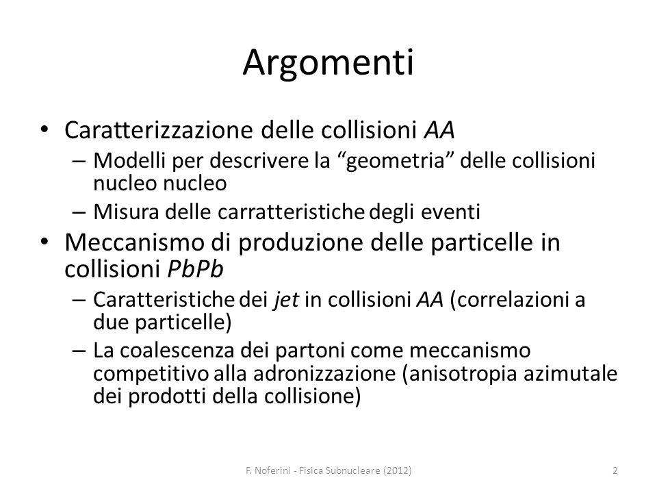 Argomenti Caratterizzazione delle collisioni AA – Modelli per descrivere la geometria delle collisioni nucleo nucleo – Misura delle carratteristiche d