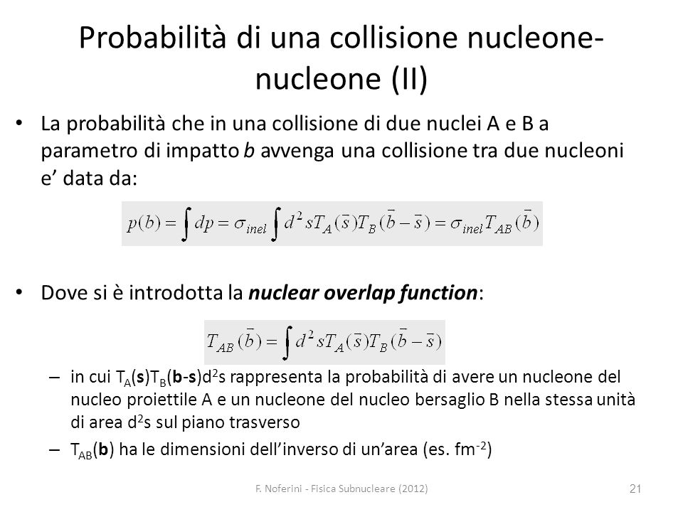 21 Probabilità di una collisione nucleone- nucleone (II) La probabilità che in una collisione di due nuclei A e B a parametro di impatto b avvenga una