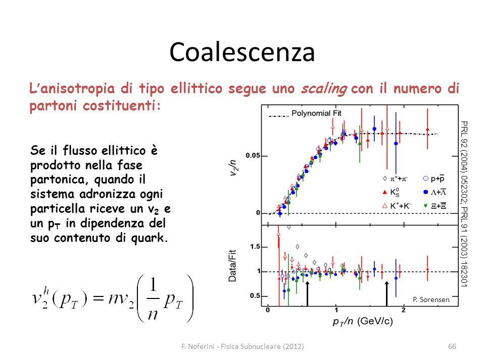 PRL 92 (2004) 052302; PRL 91 (2003) 182301 P. Sorensen 66 L anisotropia di tipo ellittico segue uno scaling con il numero di partoni costituenti: Se i