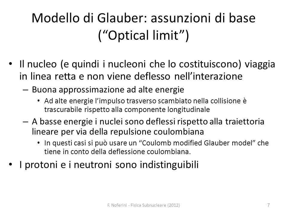 7 Modello di Glauber: assunzioni di base (Optical limit) Il nucleo (e quindi i nucleoni che lo costituiscono) viaggia in linea retta e non viene defle