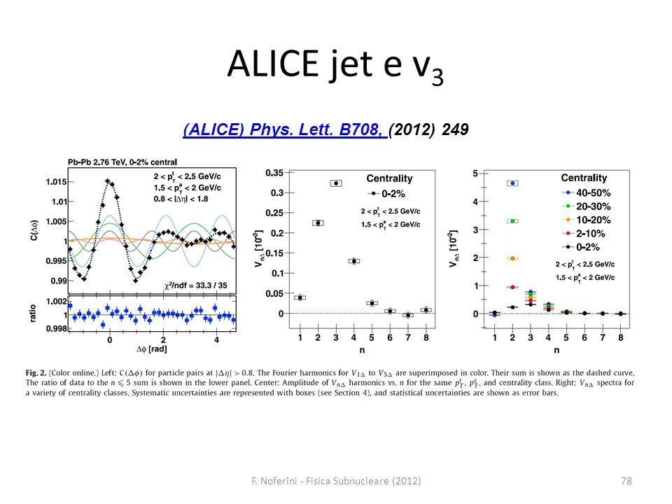 ALICE jet e v 3 78F. Noferini - Fisica Subnucleare (2012) (ALICE) Phys. Lett. B708, (ALICE) Phys. Lett. B708, (2012) 249