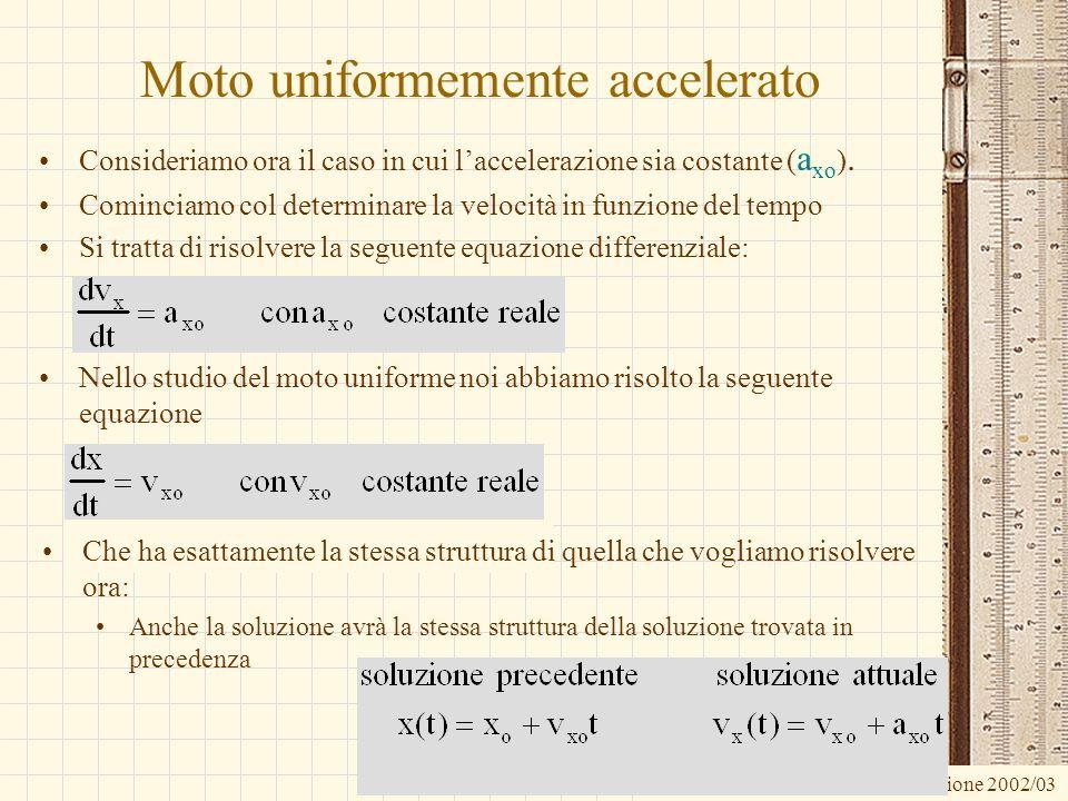 G.M. - Informatica B-Automazione 2002/03 Moto uniformemente accelerato Consideriamo ora il caso in cui laccelerazione sia costante ( a xo ). Cominciam