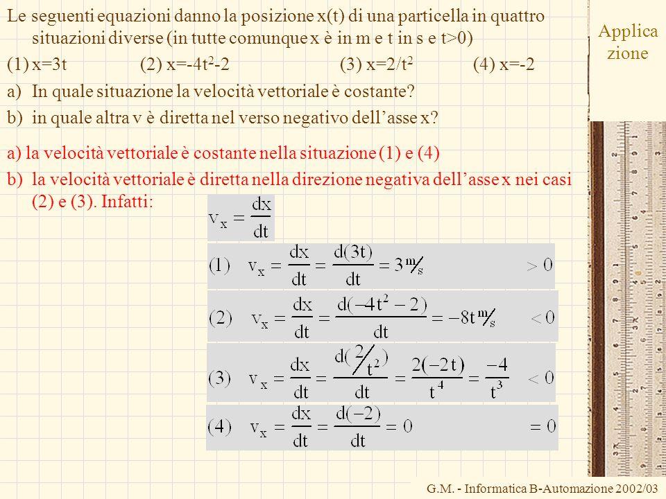 G.M. - Informatica B-Automazione 2002/03 Applica zione Le seguenti equazioni danno la posizione x(t) di una particella in quattro situazioni diverse (