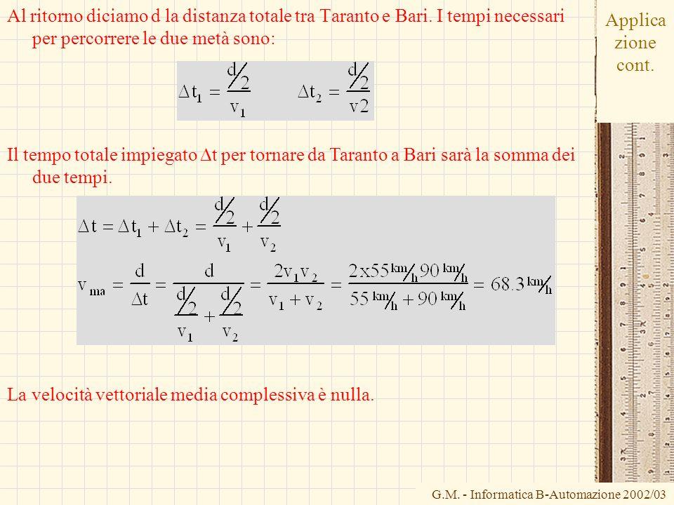 G.M. - Informatica B-Automazione 2002/03 Applica zione cont. Al ritorno diciamo d la distanza totale tra Taranto e Bari. I tempi necessari per percorr