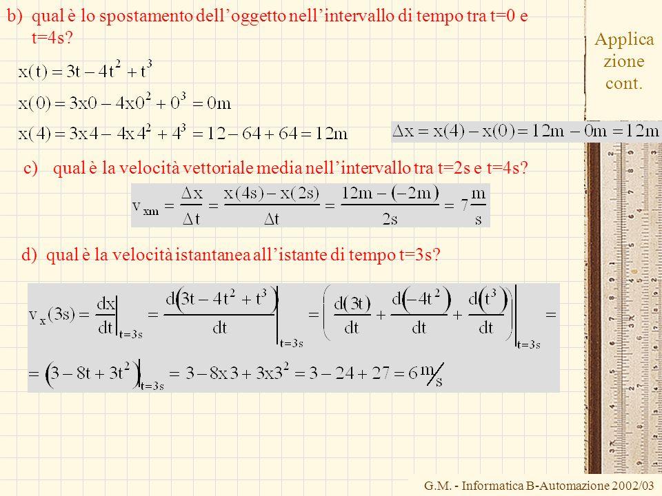 G.M. - Informatica B-Automazione 2002/03 Applica zione cont. b)qual è lo spostamento delloggetto nellintervallo di tempo tra t=0 e t=4s? d) qual è la