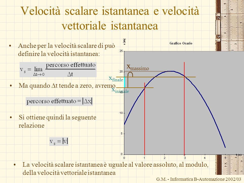 G.M. - Informatica B-Automazione 2002/03 Velocità scalare istantanea e velocità vettoriale istantanea Anche per la velocità scalare di può definire la