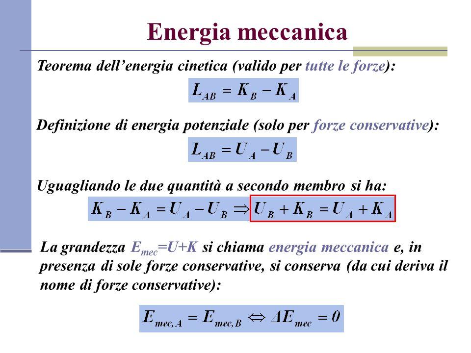 Energia meccanica Teorema dellenergia cinetica (valido per tutte le forze): Definizione di energia potenziale (solo per forze conservative): Uguaglian