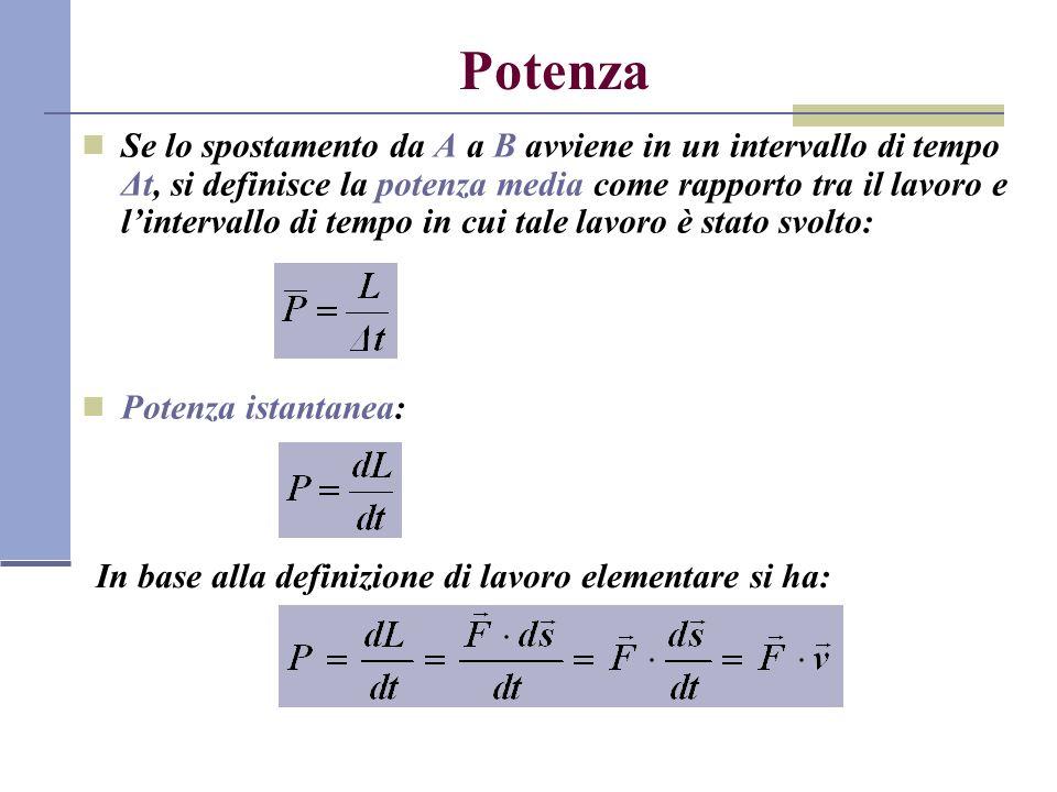 Potenza Se lo spostamento da A a B avviene in un intervallo di tempo Δt, si definisce la potenza media come rapporto tra il lavoro e lintervallo di te