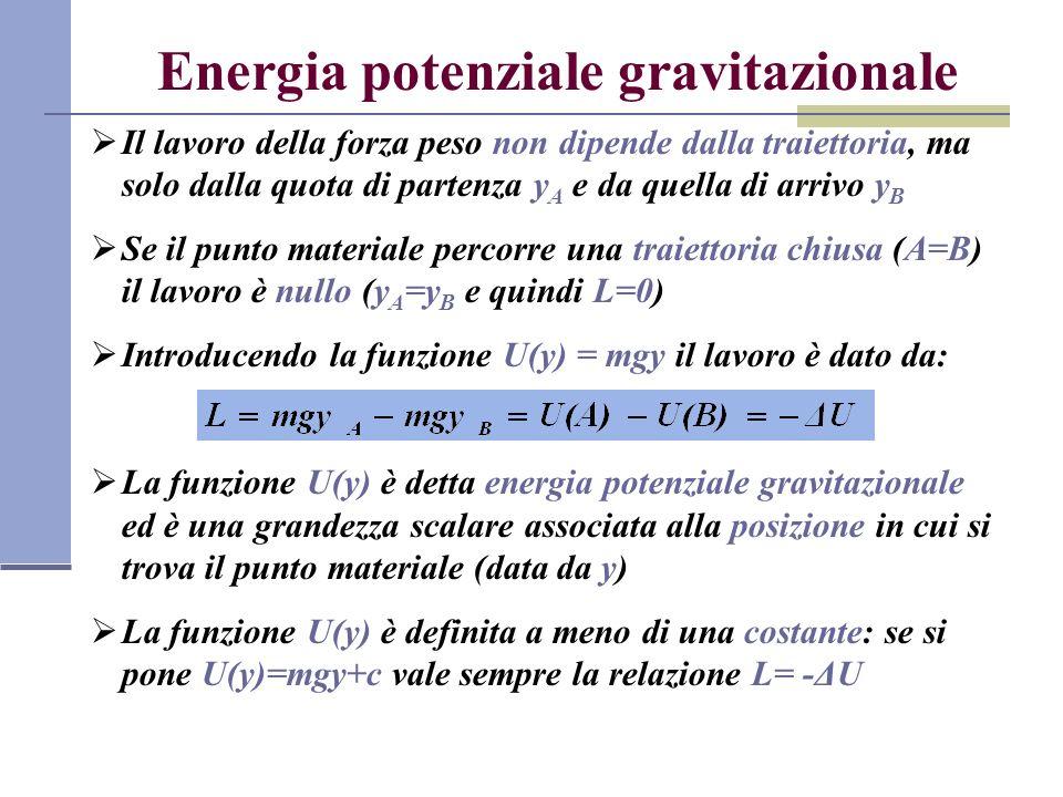 Energia potenziale gravitazionale Il lavoro della forza peso non dipende dalla traiettoria, ma solo dalla quota di partenza y A e da quella di arrivo