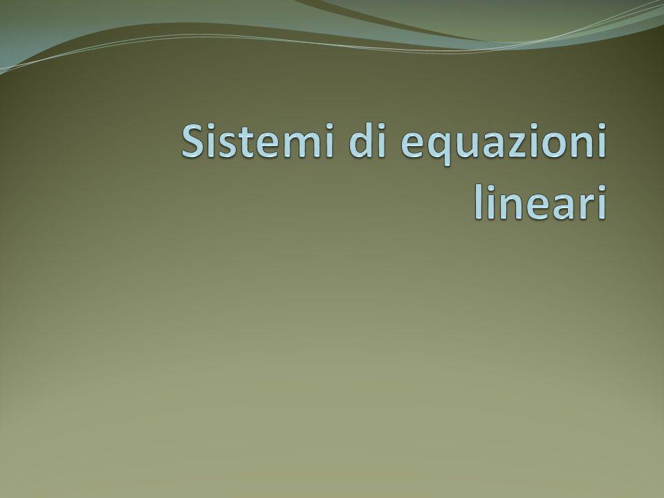 Introduzione Un sistema di equazioni algebriche lineari ha la forma seguente: le N incognite x 1,x 2,...,x N sono legate da M equazioni lineari le quantità a ij e b i (i=1,2,...,M e j=1,2,...,N) sono note se N=M il numero di equazioni è pari al numero delle incognite ed esiste la possibilità che il sistema abbia ununica soluzione nel caso M=N la soluzione non è unica se: una equazione è una combinazione lineare delle altre (degenerazione di riga) tutte le equazioni contengono certe variabili nelle stesse combinazioni lineari (degenerazione di colonna)