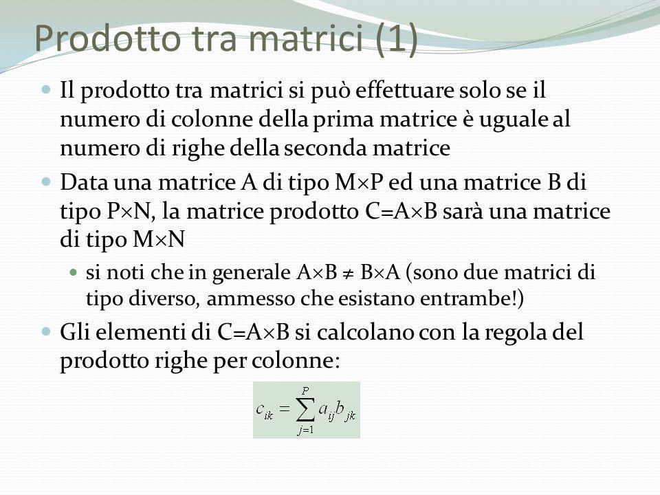 Prodotto tra matrici (1) Il prodotto tra matrici si può effettuare solo se il numero di colonne della prima matrice è uguale al numero di righe della