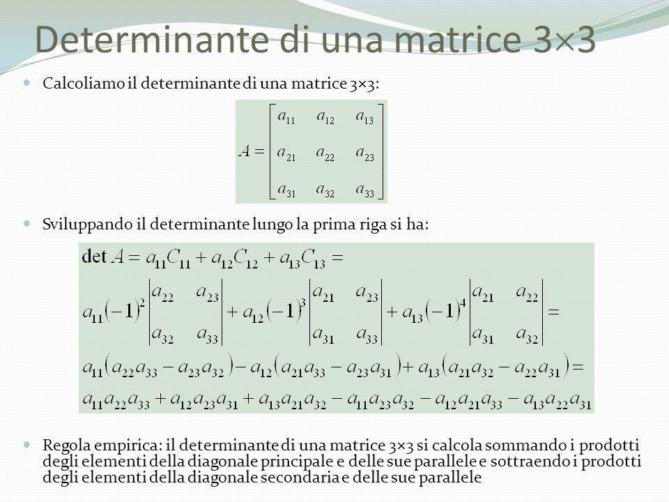 Determinante di una matrice 3 3 Calcoliamo il determinante di una matrice 3 3: Sviluppando il determinante lungo la prima riga si ha: Regola empirica:
