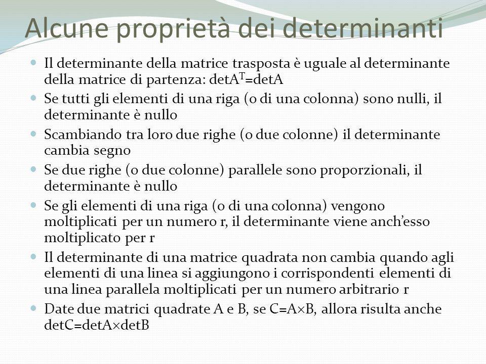 Alcune proprietà dei determinanti Il determinante della matrice trasposta è uguale al determinante della matrice di partenza: detA T =detA Se tutti gl