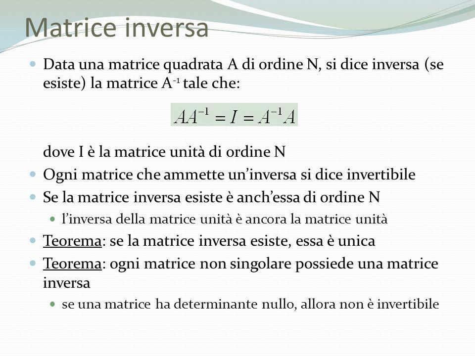 Matrice inversa Data una matrice quadrata A di ordine N, si dice inversa (se esiste) la matrice A -1 tale che: dove I è la matrice unità di ordine N O