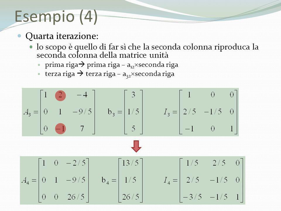 Esempio (4) Quarta iterazione: lo scopo è quello di far sì che la seconda colonna riproduca la seconda colonna della matrice unità prima riga prima ri