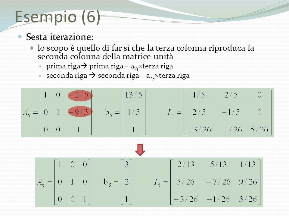 Esempio (6) Sesta iterazione: lo scopo è quello di far sì che la terza colonna riproduca la seconda colonna della matrice unità prima riga prima riga
