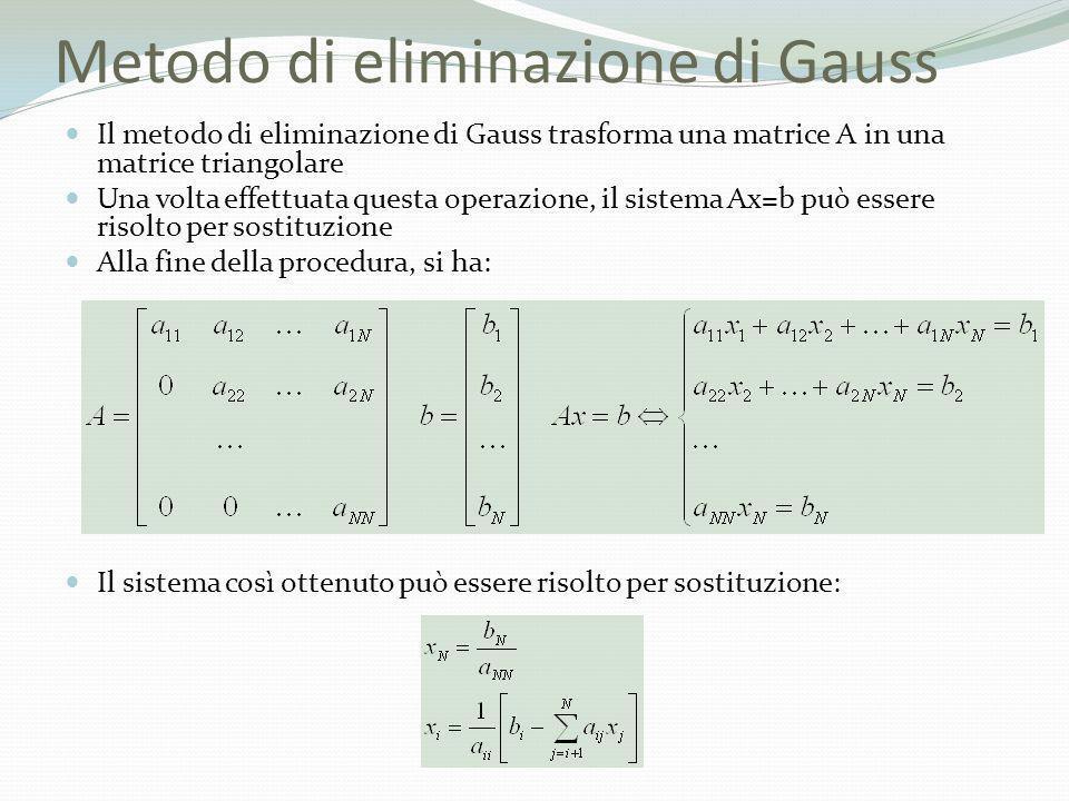 Metodo di eliminazione di Gauss Il metodo di eliminazione di Gauss trasforma una matrice A in una matrice triangolare Una volta effettuata questa oper