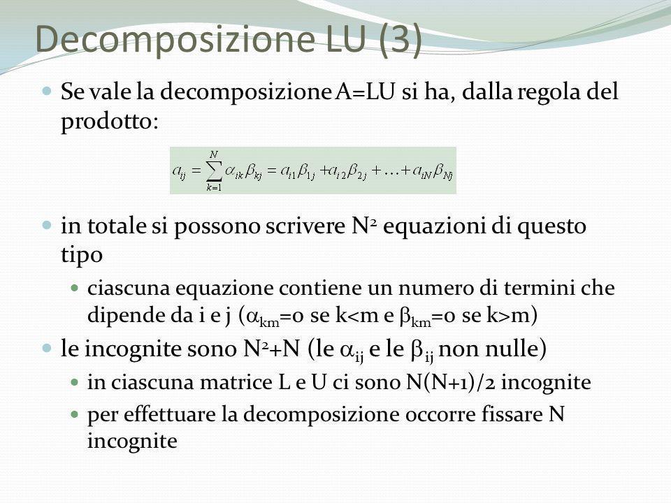 Decomposizione LU (3) Se vale la decomposizione A=LU si ha, dalla regola del prodotto: in totale si possono scrivere N 2 equazioni di questo tipo cias