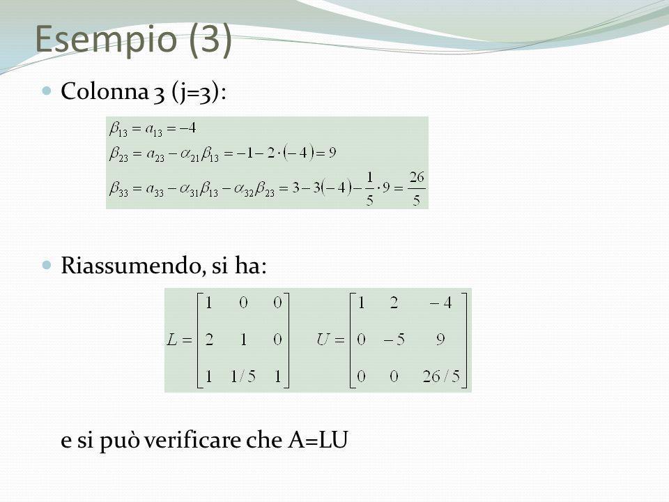 Esempio (3) Colonna 3 (j=3): Riassumendo, si ha: e si può verificare che A=LU