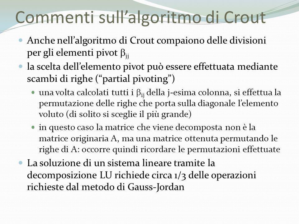 Commenti sullalgoritmo di Crout Anche nellalgoritmo di Crout compaiono delle divisioni per gli elementi pivot jj la scelta dellelemento pivot può esse