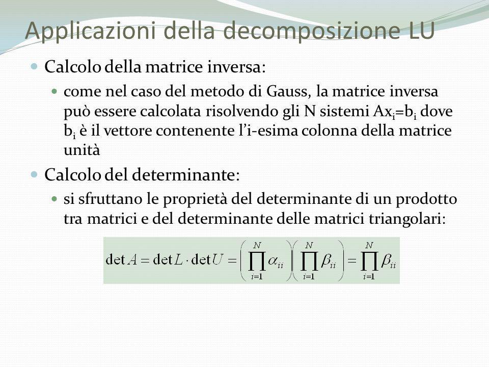 Applicazioni della decomposizione LU Calcolo della matrice inversa: come nel caso del metodo di Gauss, la matrice inversa può essere calcolata risolve