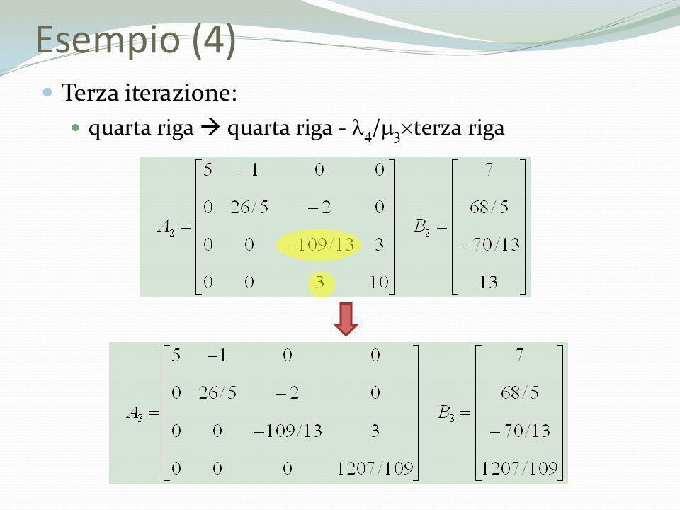 Esempio (4) Terza iterazione: quarta riga quarta riga - 4 / 3 terza riga