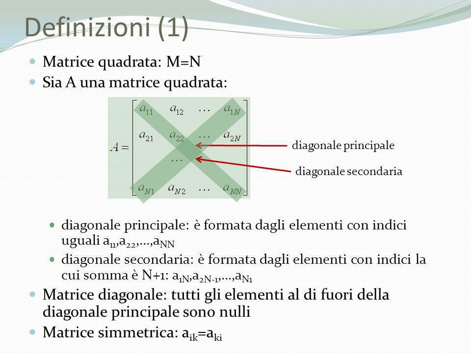 Definizioni (1) Matrice quadrata: M=N Sia A una matrice quadrata: diagonale principale: è formata dagli elementi con indici uguali a 11,a 22,...,a NN