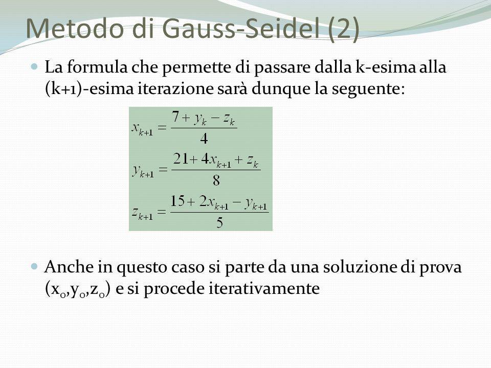 Metodo di Gauss-Seidel (2) La formula che permette di passare dalla k-esima alla (k+1)-esima iterazione sarà dunque la seguente: Anche in questo caso