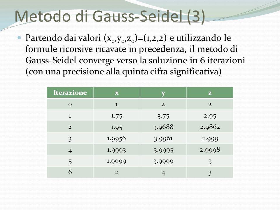 Metodo di Gauss-Seidel (3) Partendo dai valori (x 0,y 0,z 0 )=(1,2,2) e utilizzando le formule ricorsive ricavate in precedenza, il metodo di Gauss-Se