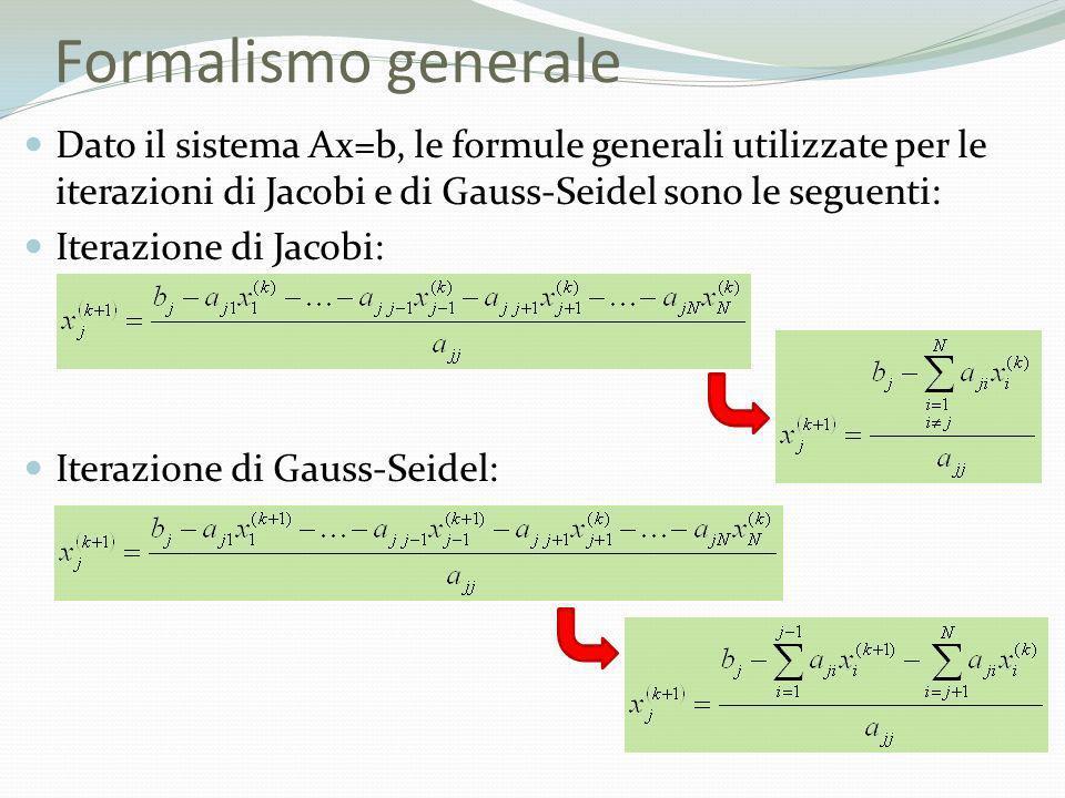 Formalismo generale Dato il sistema Ax=b, le formule generali utilizzate per le iterazioni di Jacobi e di Gauss-Seidel sono le seguenti: Iterazione di