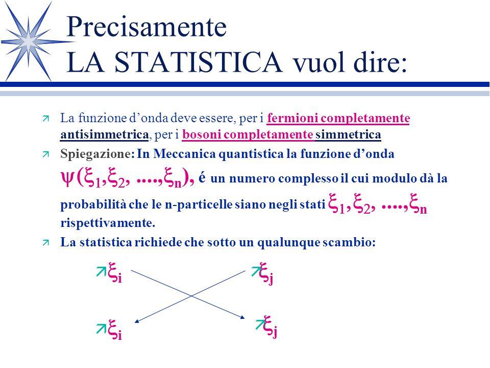 Lo spin è un concetto arduo, ma la statistica.................. é un concetto più facile da illustrare. Consideriamo un insieme di N particelle (qualu