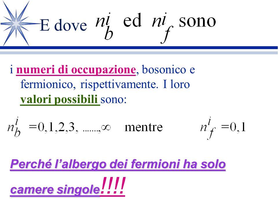 Pertanto.......... ä Se abbiamo un sistema di bosoni e fermioni ä Uno stato del sistema può essere descritto da dove a i sono numeri complessi e è uno