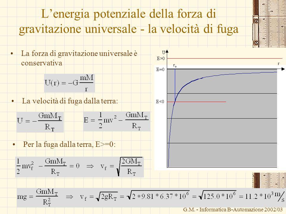 G.M. - Informatica B-Automazione 2002/03 Lenergia potenziale della forza di gravitazione universale - la velocità di fuga La forza di gravitazione uni