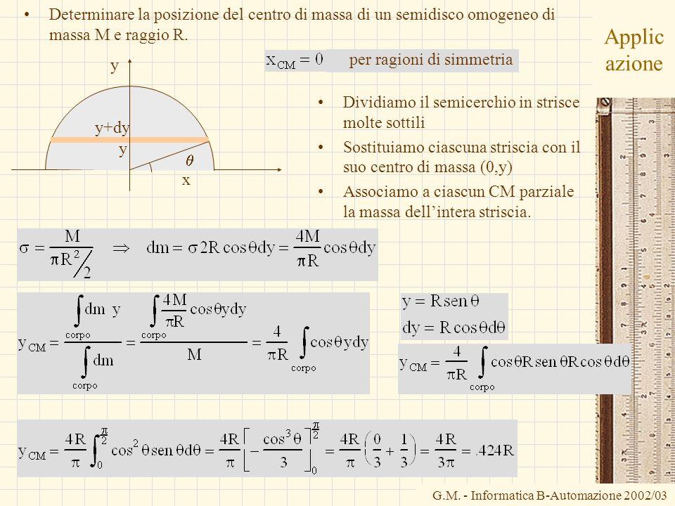 G.M. - Informatica B-Automazione 2002/03 Applic azione Determinare la posizione del centro di massa di un semidisco omogeneo di massa M e raggio R. x