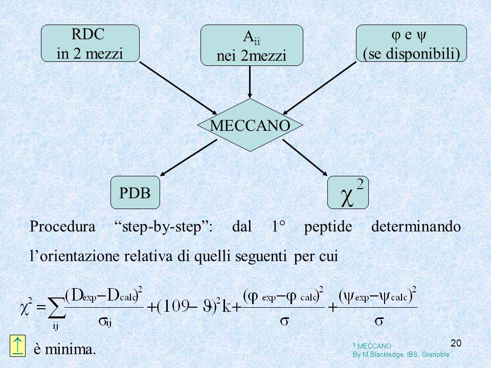 20 MECCANO RDC in 2 mezzi PDB φ e ψ (se disponibili) A ii nei 2mezzi Procedura step-by-step: dal 1° peptide determinando lorientazione relativa di que