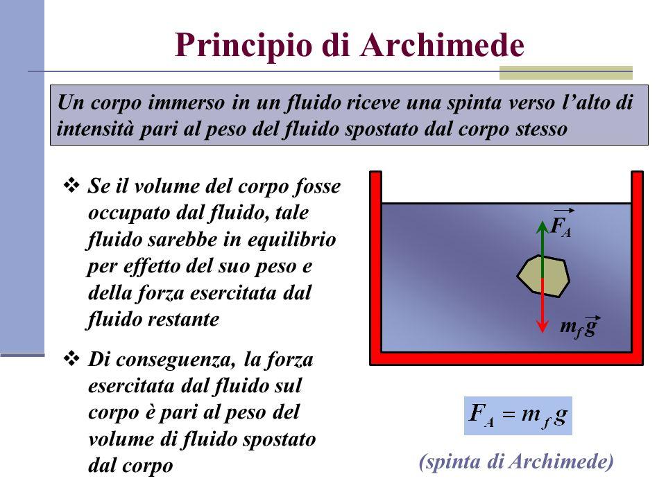 Condizione di galleggiamento FAFA P il corpo sale a galla se F A >P e quindi se ρ < ρ f il corpo affonda se F A ρ f se ρ = ρ f il corpo resta a profondità costante Forze agenti su un corpo immerso in un fluido:
