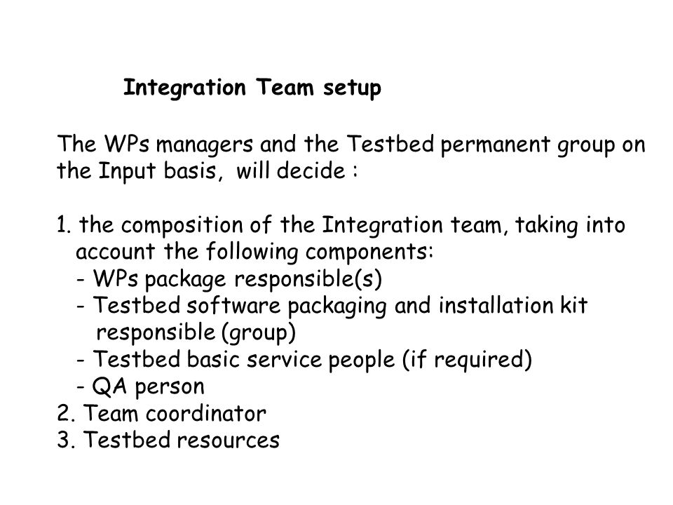 Integration Team setup The WPs managers and the Testbed permanent group on the Input basis, will decide : 1. the composition of the Integration team,