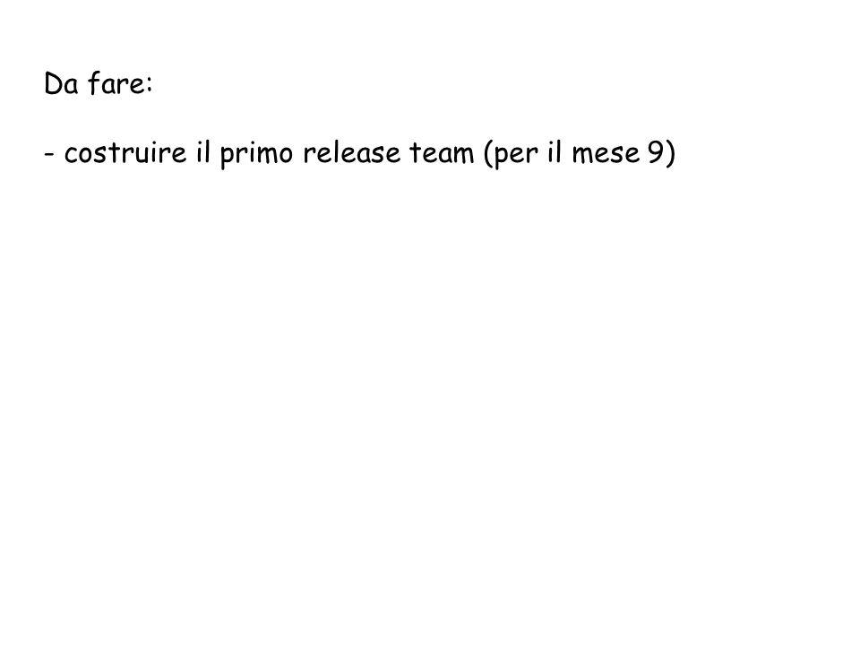 Da fare: - costruire il primo release team (per il mese 9)