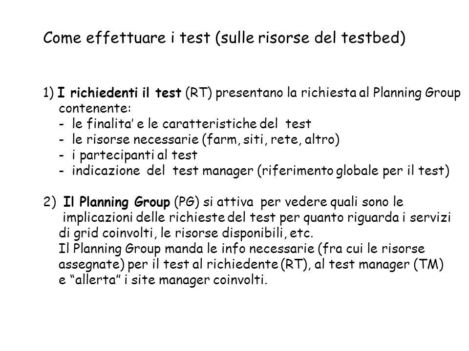 Come effettuare i test (sulle risorse del testbed) 1) I richiedenti il test (RT) presentano la richiesta al Planning Group contenente: - le finalita e le caratteristiche del test - le risorse necessarie (farm, siti, rete, altro) - i partecipanti al test - indicazione del test manager (riferimento globale per il test) 2) Il Planning Group (PG) si attiva per vedere quali sono le implicazioni delle richieste del test per quanto riguarda i servizi di grid coinvolti, le risorse disponibili, etc.