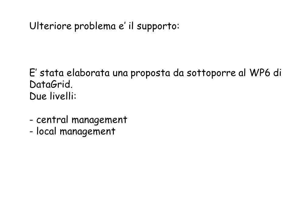 Ulteriore problema e il supporto: E stata elaborata una proposta da sottoporre al WP6 di DataGrid. Due livelli: - central management - local managemen
