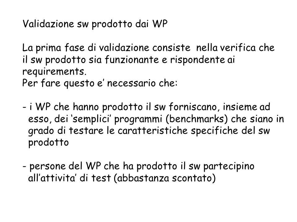 Validazione sw prodotto dai WP La prima fase di validazione consiste nella verifica che il sw prodotto sia funzionante e rispondente ai requirements.