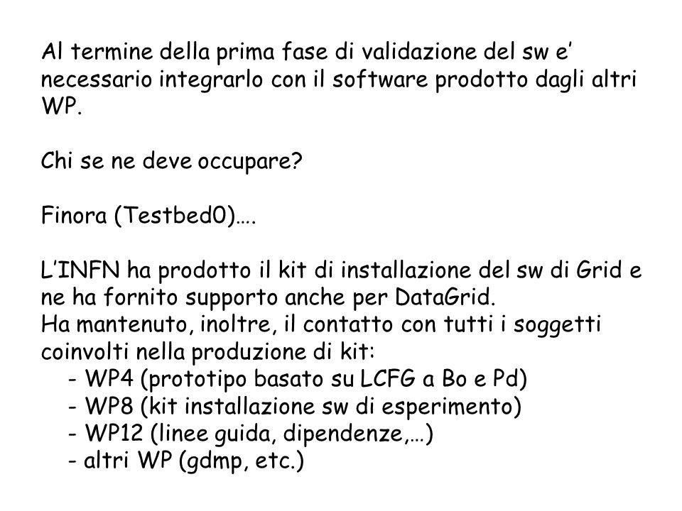 Al termine della prima fase di validazione del sw e necessario integrarlo con il software prodotto dagli altri WP. Chi se ne deve occupare? Finora (Te