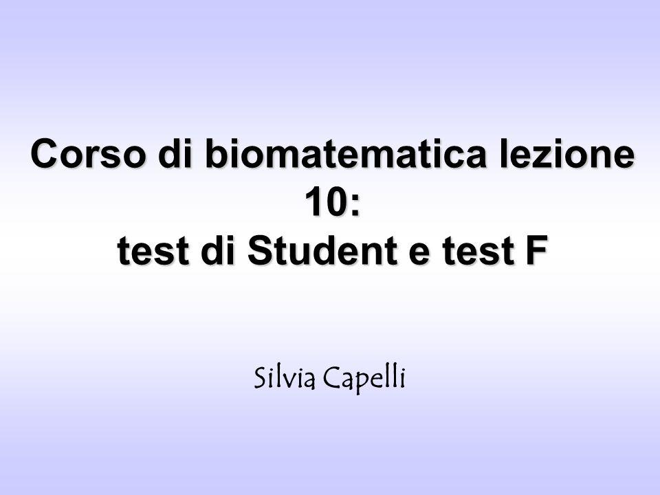 Corso di biomatematica lezione 10: test di Student e test F Silvia Capelli