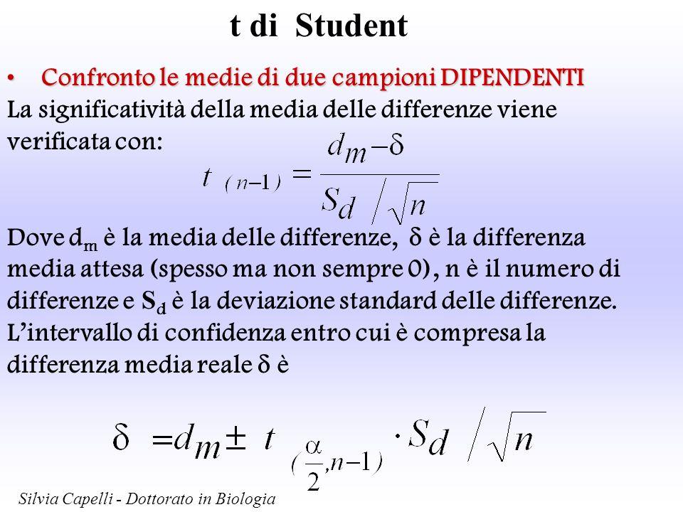 t di Student Confronto le medie di due campioni DIPENDENTIConfronto le medie di due campioni DIPENDENTI La significatività della media delle differenz