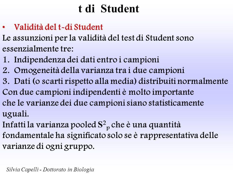 t di Student Validità del t-di StudentValidità del t-di Student Le assunzioni per la validità del test di Student sono essenzialmente tre: 1.Indipende