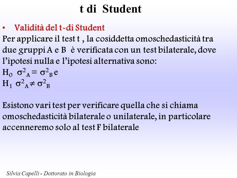 t di Student Validità del t-di StudentValidità del t-di Student Per applicare il test t, la cosiddetta omoschedasticità tra due gruppi A e B è verific
