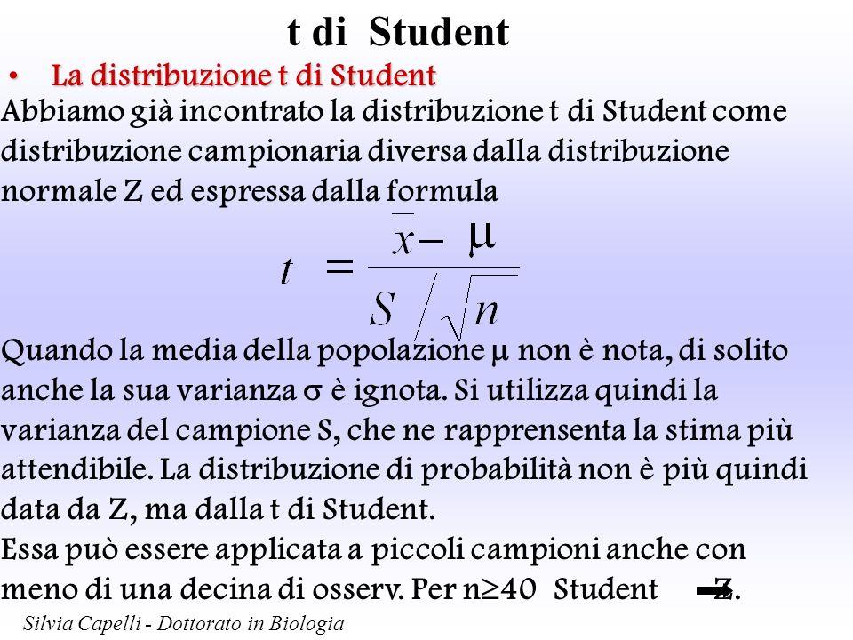t di Student Silvia Capelli - Dottorato in Biologia La distribuzione t di StudentLa distribuzione t di Student Abbiamo già incontrato la distribuzione