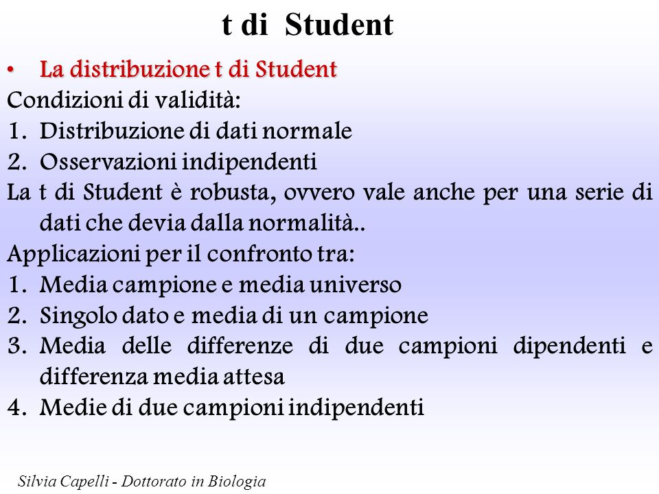 t di Student Media osservata e media attesaMedia osservata e media attesa La t di Student con n-1 g.d.l.