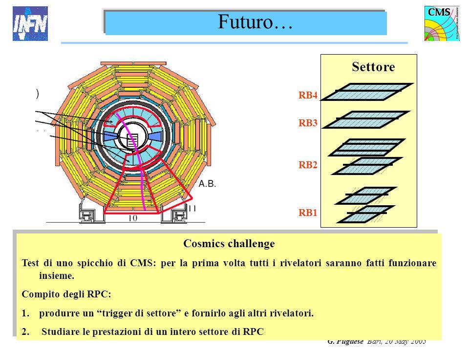 G. Pugliese Bari, 20 May 2005 Futuro… Cosmics challenge Test di uno spicchio di CMS: per la prima volta tutti i rivelatori saranno fatti funzionare in